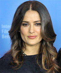 Salma Hayek Long Wavy Formal    Hairstyle   - Black  Hair Color with Dark Blonde Highlights