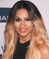 Ciara Long Straight Casual Layered Bob  Hairstyle   - Black  and  Blonde Two-Tone Hair Color