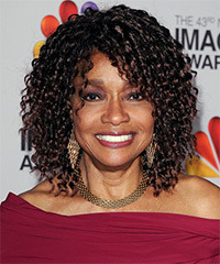 Beverly Todd Medium Curly Casual    Hairstyle with Layered Bangs  - Black  Hair Color