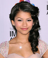 Zendaya Coleman  Long Curly Formal   Half Up Hairstyle   - Black  Hair Color