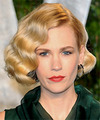 January Jones Short Wavy Formal  Bob  Hairstyle   -  Golden Brunette Hair Color