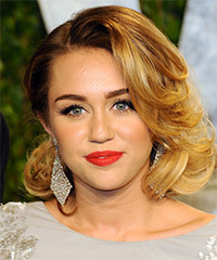 Miley Cyrus Medium Wavy Formal    Hairstyle   -  Golden Blonde Hair Color