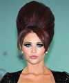 Amy Childs Long Straight   Dark Burgundy Red Emo Updo  with Side Swept Bangs