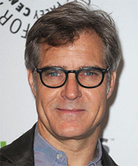 Henry Czerny  Short Straight Casual    Hairstyle   - Dark Salt and Pepper Brunette Hair Color with  Grey Highlights