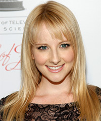 Melissa Rauch Long Straight Formal    Hairstyle with Blunt Cut Bangs  -  Golden Blonde Hair Color with Light Blonde Highlights