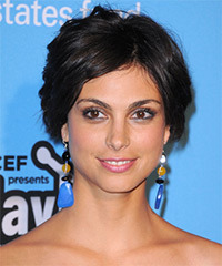 Morena Baccarin  Medium Curly Formal   Updo Hairstyle   - Black  Hair Color