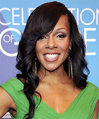 Wendy Raquel Robinson Long Wavy Formal    Hairstyle with Side Swept Bangs  - Black  Hair Color