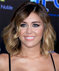 Miley Cyrus Medium Wavy Casual    Hairstyle   -  Brunette and  Blonde Two-Tone Hair Color