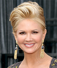 Nancy O Dell  Long Curly Formal   Updo Hairstyle   - Dark Blonde Hair Color with Light Blonde Highlights