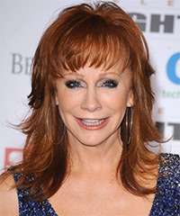 Reba McEntire Long Straight Formal    Hairstyle with Layered Bangs  -  Copper Red Hair Color