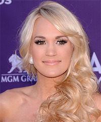 Carrie Underwood Long Wavy Formal    Hairstyle with Side Swept Bangs  - Light Platinum Blonde Hair Color