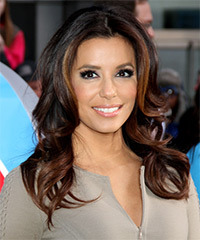 Eva Longoria Parker Long Wavy Formal    Hairstyle   - Black Mocha  Hair Color with Dark Brunette Highlights