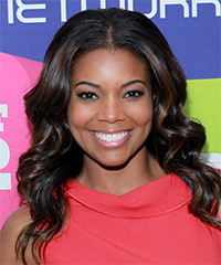Gabrielle Union Long Wavy Formal    Hairstyle   - Black  Hair Color with  Brunette Highlights