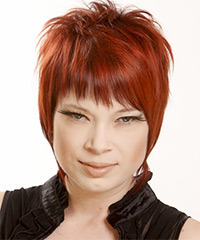 Short Straight Casual    Hairstyle with Razor Cut Bangs  -  Bright Red Hair Color