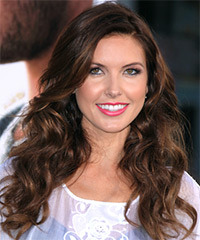 Audrina Patridge Long Wavy Casual    Hairstyle   - Dark Mocha Brunette Hair Color