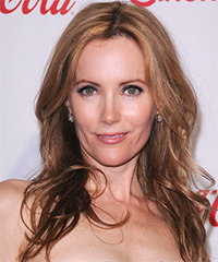 Leslie Mann Long Straight Casual    Hairstyle   -  Copper Brunette Hair Color with Light Red Highlights