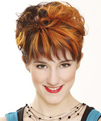Short Curly   Dark Ginger Brunette and Orange Two-Tone   Hairstyle with Layered Bangs