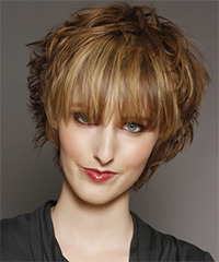 Short Straight Casual    Hairstyle with Blunt Cut Bangs  - Light Golden Brunette Hair Color with Light Blonde Highlights