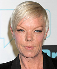 Tabatha Coffey Short Straight Formal    Hairstyle   - Light Platinum Blonde Hair Color