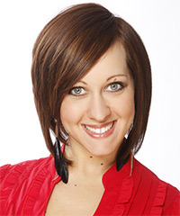 Medium Straight Formal Layered Bob  Hairstyle   -  Chestnut Brunette Hair Color
