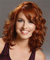 Medium Curly Formal    Hairstyle with Side Swept Bangs  -  Copper Red Hair Color