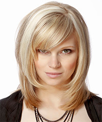 Medium Straight Formal    Hairstyle with Side Swept Bangs  - Light Champagne Blonde Hair Color with Light Blonde Highlights