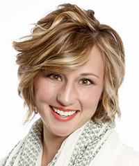 Short Wavy Formal Layered Bob  Hairstyle with Side Swept Bangs  -  Caramel Brunette Hair Color with Light Blonde Highlights