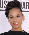Alicia Keys  Long Straight Formal  Braided Updo Hairstyle   - Dark Mocha Brunette Hair Color
