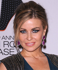 Carmen Electra  Long Straight Formal   Updo Hairstyle with Side Swept Bangs  - Dark Brunette Hair Color with  Blonde Highlights