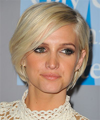 Ashlee Simpson Short Straight Casual Layered Bob  Hairstyle   - Light Platinum Blonde Hair Color