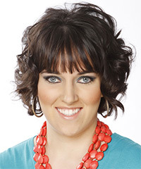 Short Curly   Dark Mocha Brunette   Hairstyle with Layered Bangs