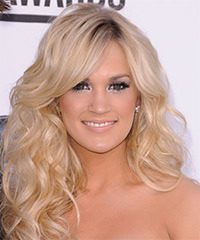 Carrie Underwood Long Wavy Formal    Hairstyle   - Light Champagne Blonde Hair Color