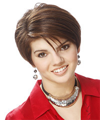 Short Straight Formal    Hairstyle with Side Swept Bangs  - Light Brunette Hair Color with Light Brunette Highlights