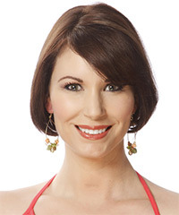 Short Straight Formal Layered Bob  Hairstyle with Side Swept Bangs  -  Chocolate Brunette Hair Color