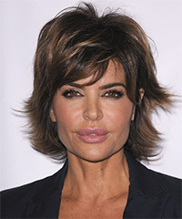 Lisa Rinna Short Straight Casual    Hairstyle with Side Swept Bangs  - Dark Ash Brunette Hair Color with Dark Blonde Highlights