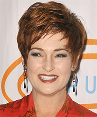 Carolyn Hennesy Short Straight Formal    Hairstyle with Side Swept Bangs  -  Copper Brunette Hair Color