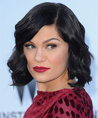 Jessie J Medium Wavy Casual Layered Bob  Hairstyle   - Black  Hair Color