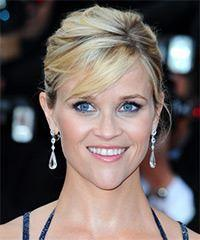 Reese Witherspoon  Long Straight Formal   Updo Hairstyle with Side Swept Bangs  - Light Blonde and  Brunette Two-Tone Hair Color