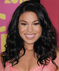 Jordin Sparks Long Wavy Casual    Hairstyle   - Black  Hair Color