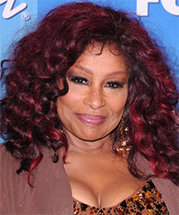 Chaka Khan Long Curly Casual  Afro  Hairstyle   - Dark Plum Red Hair Color with Light Red Highlights