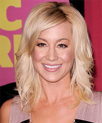 Kellie Pickler Medium Straight Formal    Hairstyle with Side Swept Bangs  - Light Champagne Blonde Hair Color