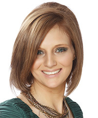 Medium Straight Formal Layered Bob  Hairstyle   - Chestnut Hair Color with Light Brunette Highlights