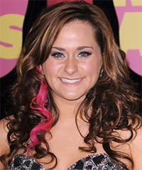 Skylar Laine  Long Wavy Formal    Hairstyle   -  Chestnut Brunette Hair Color with Pink Highlights