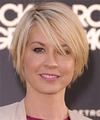 Jenna Elfman Short Straight Casual Layered Bob  Hairstyle with Side Swept Bangs  - Light Champagne Blonde Hair Color with Light Blonde Highlights
