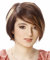 Short Straight Casual Layered Bob  Hairstyle with Side Swept Bangs  - Light Brunette Hair Color with Dark Brunette Highlights