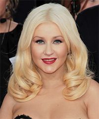 Christina Aguilera Long Straight Formal    Hairstyle   - Light Platinum Blonde Hair Color