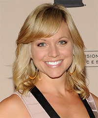 Tiffany Coyne Medium Wavy Casual    Hairstyle with Side Swept Bangs  - Dark Golden Blonde Hair Color