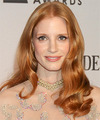 Jessica Chastain Long Wavy Formal    Hairstyle   - Light Ginger Red Hair Color