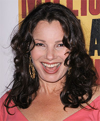 Fran Drescher Long Curly Casual    Hairstyle   - Black  Hair Color