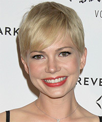 Michelle Williams Short Straight Casual Layered Pixie  Hairstyle with Side Swept Bangs  - Light Ash Blonde Hair Color